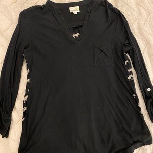 Anthropologie Black with White Horses Top